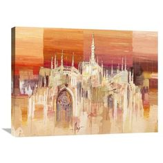 Global Gallery 'Milano al Tramonto' by Luigi Florio Painting Print on Wrapped Canvas Size: