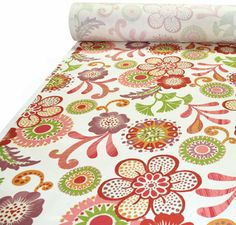 """Love this. 54"""" wide 100% Cotton   A gorgeous, bohemian inspired floral by P/ Kaufman.  The colors are watermelon and berry pink, carrot orange, cardinal red, plum purple and lime green on a creamy off white background.  Pattern is multi directional and has a vertical repeat of 25"""" by 27"""" horizontal.  Made of 100% cotton, upholstery weight fabric, weighs 10 oz or 300 grams per yard and has a soil and stain resistant finish."""