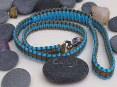 Turquoise & Brown Paracord Dog Lead