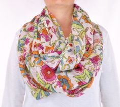 Floral Multi Color White lightweight chunky by CreationsbyTerra, $16.00