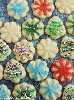Cookie Press Sugar Cookies are so much fun around the holidays. This sugar cookie dough is perfect to use with any cookie press Sugar Cookie Recipe For Cookie Press, No Bake Sugar Cookies, Spritz Cookies, Cookie Dough Recipes, Sugar Cookie Dough, Fancy Cookies, Holiday Desserts, Holiday Baking, Christmas Baking