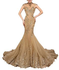 Emmani Womens Beaded Sequins High Neck Mermaid Tulle Evening Prom Dresses Gold 10 *** To view further for this item, visit the image link.