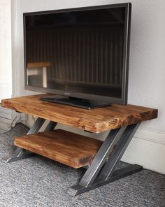 Rustic oak tv stand unit cabinet metal Z frame design industrial chic
