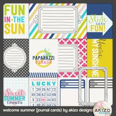 Free Welcome Summer Journal Cards from Akizo Designs