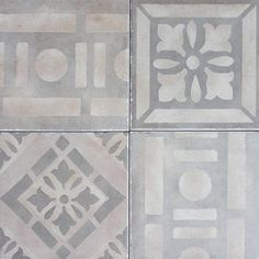 """""""Novencento"""" Petali Grigio Reproduction line of antique cement tiles is ideal for demanding, high traffic commercial areas or homes because of their innate durability and extremely low maintenance (Exquisite Surfaces) Mosaic Tiles, Wall Tiles, Tiling, Concrete Tiles, Patio Tiles, French Oak, Tile Design, Textures Patterns, Daisy"""