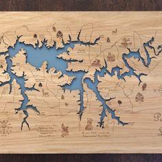 Wood Laser Engraved Patoka Lake Map