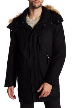 Brewster Faux Fur Trim Hooded Jacket