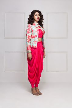 HOUSE OF OMBRE Coral pink dhoti set with mint blue floral printed jacket Indian Wedding Outfits, Indian Outfits, Western Dresses, Indian Dresses, Indian Designer Outfits, Designer Dresses, Ethnic Fashion, Indian Fashion, Diy Fashion