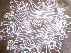 Star kolam with free hand lines - flower kolam - YouTube
