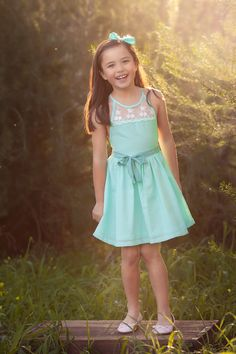 The Audrey #dress in #mint featuring #lace and chiffon #bow belt. #girls #kids…