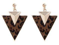 Gold Animal Print Triangle Drop Earrings   £4.99  Buy 1 Get 1 Free   newlook.com