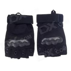 Stylish Tactical Hard Shell Protective Half-Finger Gloves - Black (Size-L / Pair) Price: $11.00