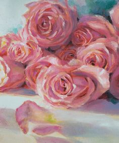 """Left side detail, """"Birthday Roses"""", by Laura Kirste Campbell"""