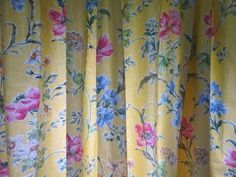 Pair Vintage Laura Ashley Lined Cotton Curtains Yellow Poppy Meadow Long Laura Ashley Fabric, Vintage Curtains, Cotton Curtains, Poppy, Traditional, Yellow, Crafts, Ebay, Manualidades