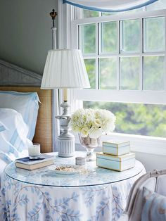 Another simple but lovely bedside table to aspire to....Charming East Hampton Cottage - Traditional Home®
