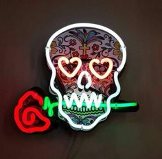 DIA DE LOS MUERTOS/DAY OF THE DEAD~skull neon sign