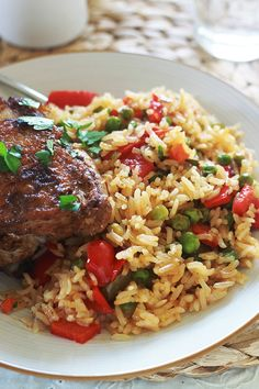 Rice with chicken and vegetables - Rice Recipes Baked Chicken Recipes, Rice Recipes, Meat Recipes, Asian Recipes, Crockpot Recipes, Healthy Recipes, Vegetable Rice Recipe, Confort Food, Chicken And Vegetables