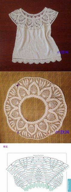 Crochet Top Белый топ с круглой кокеткой крючком. Топ крючком с ананасовой кокеткой Pull Crochet, Crochet Yoke, Mode Crochet, Crochet Collar, Crochet Jacket, Crochet Blouse, Crochet Stitches, Lace Collar, Crochet Round
