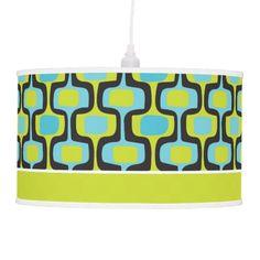Aqua and Chartreuse Mid-Century Modern Pattern Lamp | Zazzle