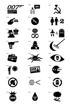 james bond films as pictograms #icons