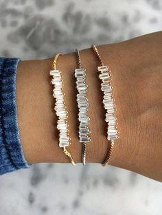 SCATTER Irregular Baguette Cut Crystal Adjustable Tennis Bracelet Available In Platinum, Gold Or Rose Gold #diamondbracelets