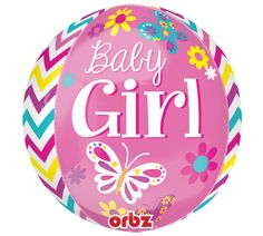 Welcome the arrival of a sweet Baby Girl with this new Orbz™ Balloon from #burtonandburton! #balloon #babygirl #orbz