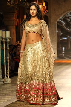 Net fabric Golden Katrina Kaif bridal replica lehenga choli B15379