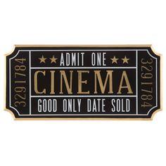 Cinema Ticket-Shaped Wall Decor