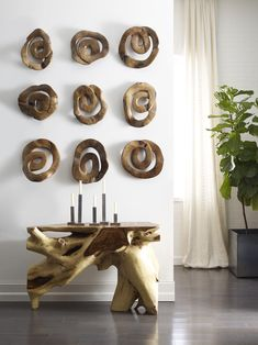 Teak Swirl Wall Art Hallway Living Foyer Contemporary Modern Transitional by Phillips Collection