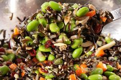 Wild Rice and Edamame Salad - blanched slivered almonds - sesame seeds - 4 cups cooked wild rice - scallions - 2 cups shelled cooked edamame - carrots - dried cranberries - olive oil - toasted sesame oil - rice vinegar - honey - kosher salt