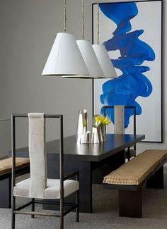 A sleek, modern dining room