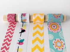 Birds of a Feather Washi Tape Set - Birds balance on a delicate wire, flanked by tape in matching colors.