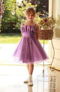 Flower Girl Dresses -Flower Girl Dress Style 5433- Taffeta Dress with Heart Pattern Flocked Tulle Skirt