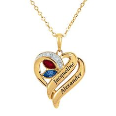 Our Hearts Together Diamond & Birthstone Pendant - The Danbury Mint