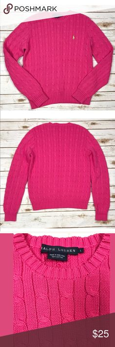 Ralph Lauren Pink Cable Knit Sweater Size Large Very good conditions as shown in the pictures.  No stains or damage. Carefully inspect all pictures as they are a major part of the description and condition.                                I try my best to describe my items in detail. Please ask any questions prior to purchase. Questions are usually answered the same day for your convenience.   Items are stored in a pet and smoke free environment.   Thanks for shopping in my store…