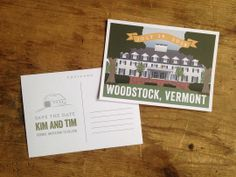 Woodstock Inn - Woodstock, Vermont Wedding - Custom Illustration - Save the Date Postcard - by Anthologie Press