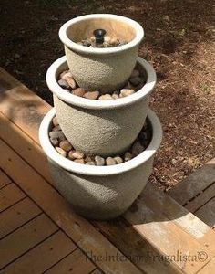 Plant Pots to Water Fountain {tutorial link included!}
