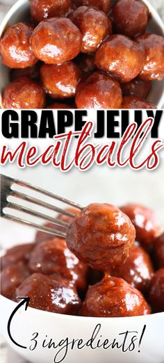 Grape jelly meatballs, made with only 3 ingredients, are a party staple. Fix them on the stove, in the crockpot, or in the instant pot! Yummy Appetizers, Appetizer Recipes, Dinner Recipes, Appetizer Party, Grape Jelly Meatballs, Cooking Recipes, Crockpot Recipes, Cooking Stuff, Meat Recipes
