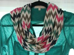 Chevron Infinity Scarf. Adorable! Available in adult and toddler sizes. Also comes in Mommy & Me set. #daisydesign $15