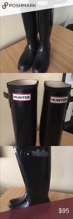 Hunter boots. Tall. Black. US women size 9. EUC. Tall Hunter boots. Black. In excellent used condition. Barely worn. Received as a gift and I don't like how they fit but never got rid of them. UK 7. US M8 F9. Comes with free Hunter boot socks in purple. Hunter Boots Shoes Winter & Rain Boots