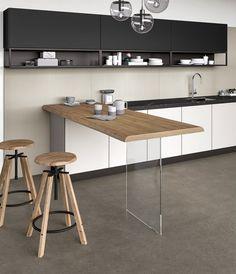 Render for kitchen. Granite Dining Table, Glass Dining Table, Dining Area, Glass Kitchen, Kitchen Dining, Kitchen Bar Design, Kitchen Peninsula, Home Living Room, Kitchen Interior