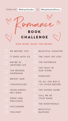 This is a great romance book challenge. You can choose any books you like from t. - Reading For Stress Relief - Livre Book Challenge, Reading Challenge, Challenge Ideas, Reading Lists, Book Lists, I Love Books, My Books, Good Books To Read, Books To Read In Your 20s