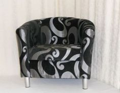 TC004 TUB CHAIR BLACK & SILVER SWIRL DESIGN ON CHROME LEGS silver swirl, tub chair, swirl design, chrome leg, tc004 tub, chair black