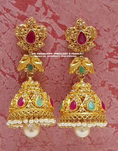 Get the best collection in Bridal Jewellery Sets in Gold and Diamonds at Unbelievable Prices.Presenting here is an Uncut Diamonds Bridal Set together with Nakshi work in Hallmark gold. Whatsapp on 9100592011 for more details. Gold Jhumka Earrings, Gold Mangalsutra, Jewelry Design Earrings, Gold Earrings Designs, Gold Jewellery Design, Gold Jewelry, Jhumka Designs, Ear Jewelry, Diamond Earrings