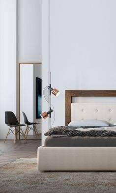 A sophisticated bed frame with a simple walnut wood halo