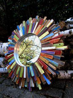 Copyright © 2014 Fallen Walnut. All Rights Reserved. Colorful Reclaimed Wood Art Sunburst Mirror by www.fallenwalnut.com