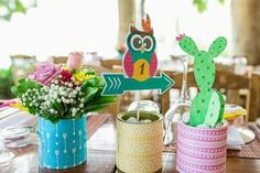 #cactus #centrepiece #baptism #owl Christening Decorations, Cactus, Owl, Children, Greece, Young Children, Greece Country, Boys, Baptism Decorations
