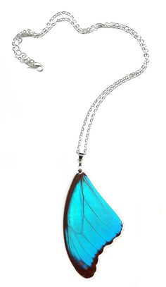 "Resin Coated Real Butterfly Wing necklace ""Blue Morpho"" Free Shipping Worldwide Real Butterfly Necklace"