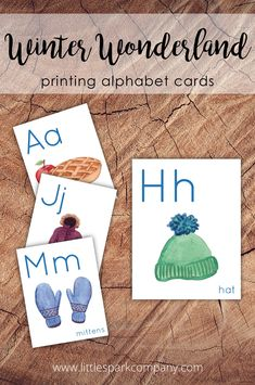 Add some winter flair to your homeschool or classroom with this set of 26 alphabet cards. Each card contains both the uppercase and lowercase letter along with a winter-themed watercolour illustration that begins with the same letter. Images have been chosen for their phonetic representation of the corresponding letter. G Sound, Watercolour Illustration, Alphabet Cards, Uppercase And Lowercase Letters, Print Fonts, Language Activities, Early Education, Winter Theme, Lower Case Letters