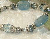 Light Blue Crystal Quartz Beaded Bracelet with Dangles. Love the color!